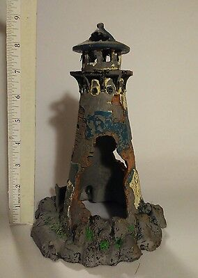 LIGHTHOUSE BOAT WRECK HAND PAINTED REALISTIC AQUARIUM DECOR RESIN REPLICA