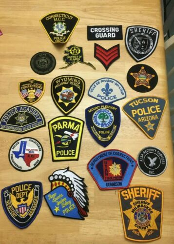 NICE LOT OF 20 LAW ENFORCEMENT PATCHES  PD-2