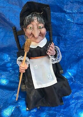 Vintage Halloween Prop Animated Witch With Flashing Eyes & Sound Rocking Chair](Animated Halloween Rocking Chair)