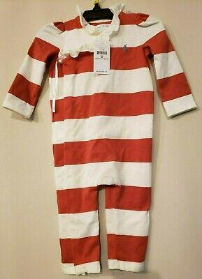 NWT Baby Girl RALPH LAUREN 9 Month 9M Red Striped Romper Ruffle Collar CHRISTMAS