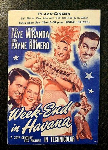 WEEK-END IN HAVANA 1941 ORIGINAL MOVIE HERALD - ALICE FAYE, CARMEN MIRANDA
