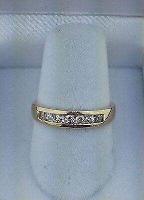 14k Solid Yellow Gold 0.50 Ct Round Cut Diamond Wedding Band Channel Set Ring (Channel Set Round Cut Diamond)