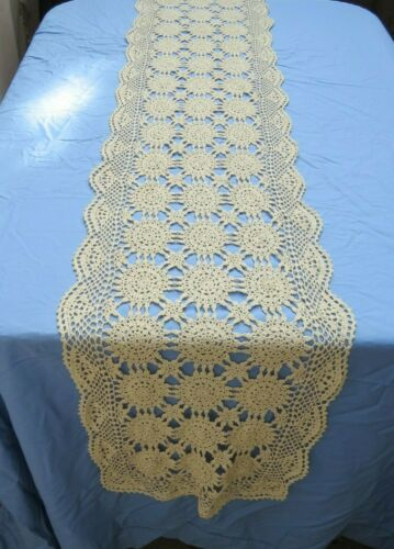 "Vintage Cotton Crochet Lace Table Runner Dresser Scarf 16x88"" Rectangle"