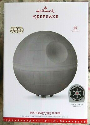 Hallmark Star Wars Death Star Christmas Tree Topper Magic Cord Light & Sound NEW
