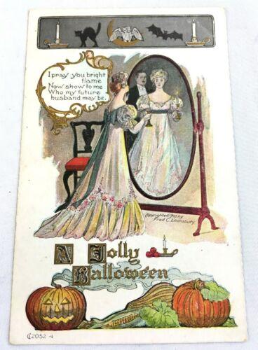 Antique Victorian Postcard A JOLLY HALLOWEEN 2052-4 Fred C. Lounsbury 1907