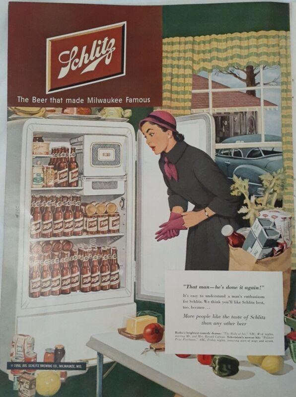 Vintage Print Ad 1950 Schlitz Beer - Refrigerator Full Of Schlitz