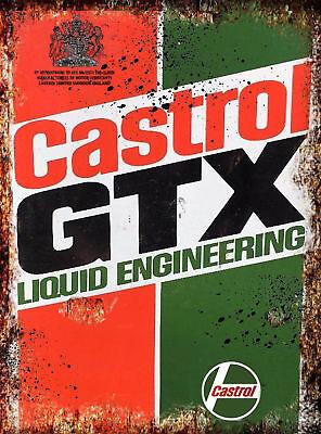 Castrol GTX Oil Vintage Retro Metal Tin Advertisement Sign Car Workshop Man Cave