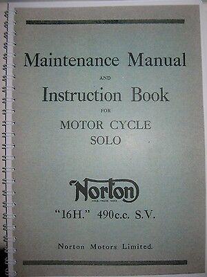 VINTAGE  NORTON 16 H MAINTENANCE MANUAL AND INSTRUCTION BOOK