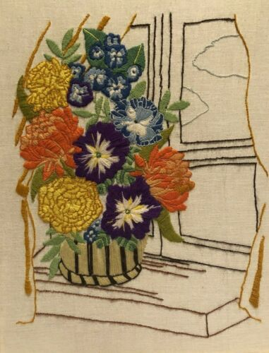 """Vintage Finished Crewel Embroidered Piece Flowers in Vase 15"""" x 19"""""""