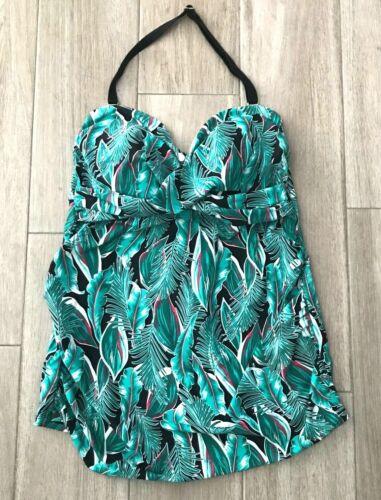 Isabel Maternity Womens Size M  Tropical Swim Tankini Top ~ Green Black