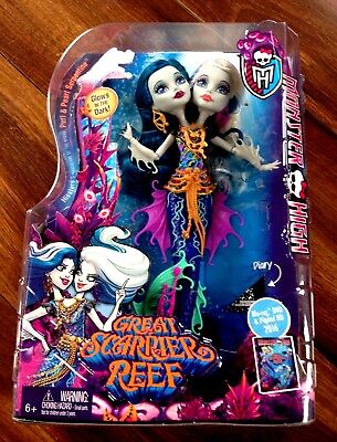 Monster High Great Scarrier Reef Peri and Pearl Serpintine Doll Two Headed Toy