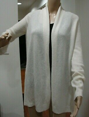 Theory 100% Cashmere Relaxed Open Front Cardigan Ivory SZ P