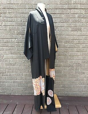 Vintage 70s handmade Silk Floral print black Asian Kimono full length Coat Robe