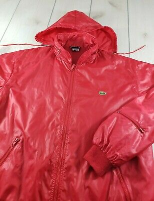 Vtg LACOSTE The Lacoste Club Full Zip Windbreaker Jacket Hooded Red Men's XL A81