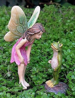 Miniature Dollhouse FAIRY GARDEN ~ Are You Really a Prince? Girl Pick with Frog - Garden Girls