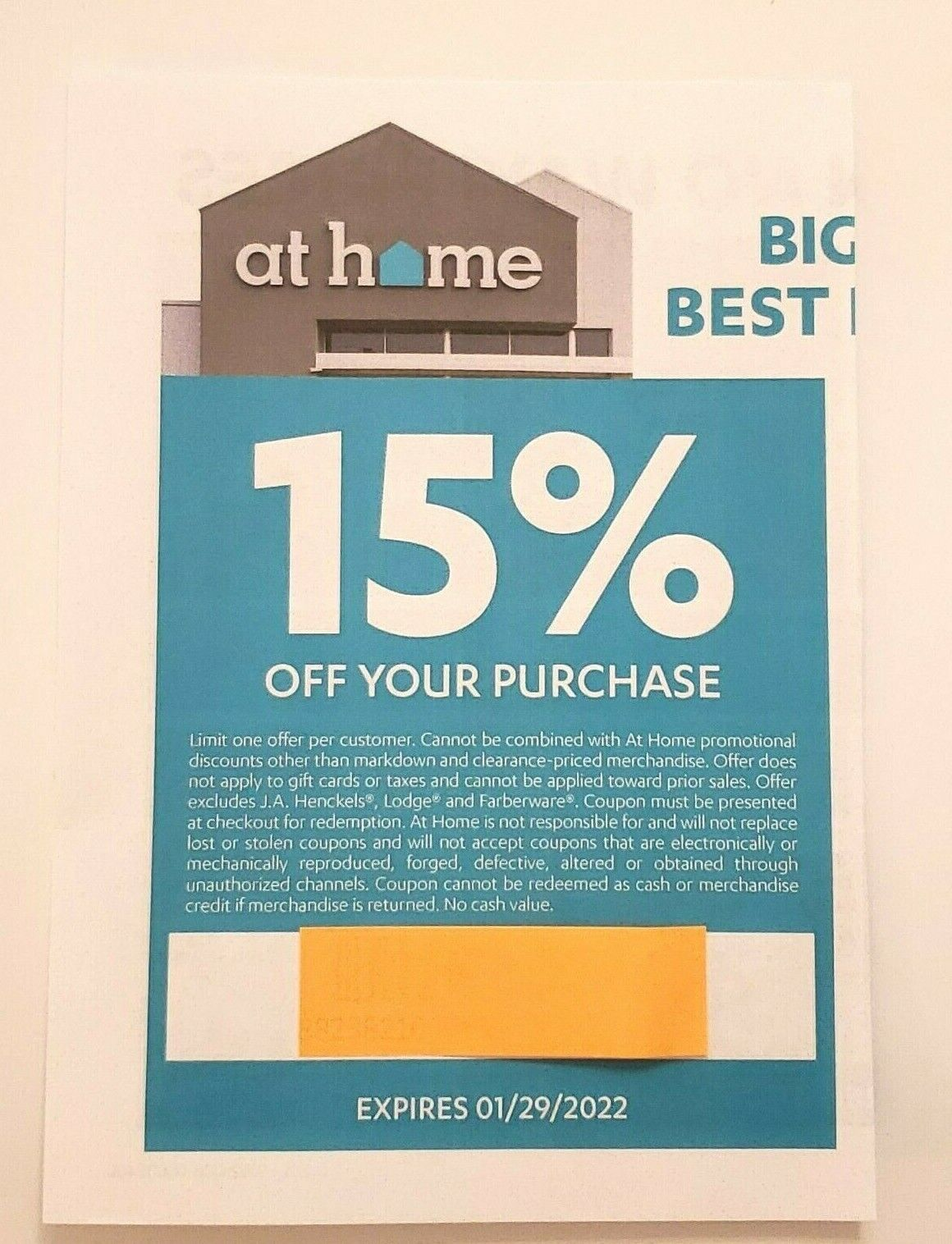 AT HOME 15 Off Coupon In-Store Only Expires 1/29/2022 - $14.99