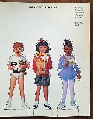 Vintage PAPER DOLLS 1992 SARA LEE BRANDS ADVERTISING RARE UNCUT BOOK