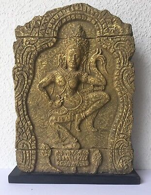 Rare Figure Apsara Mural Khmer in Paper Mache Recycled Original Cambodia