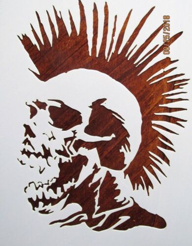 Skull with Mohawk Stencil/Template Reusable 10 mil Mylar
