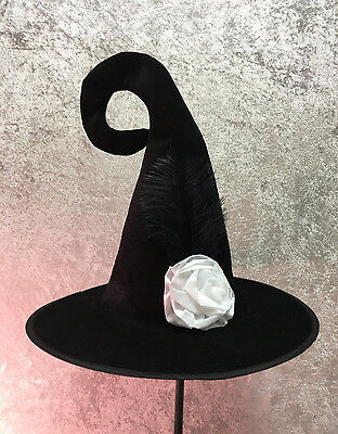 Adult Size Black Crooked Tip Witch Hat With White Rose and Feather Halloween - White Witch Hat