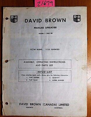 David Brown S 1960 Db 115140 Bushel Pto Manure Spreader Operator Parts Manual