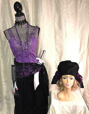 Circus Gypsy Pirate fortune teller wench Halloween costume  size 12 L purple (Purple Gypsy Costume)