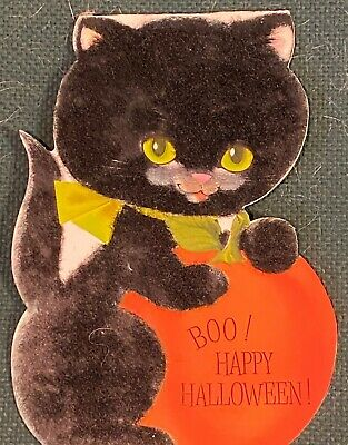 Vintage Hallmark Flocked Black Cat Kitten Halloween Stand Up Card Double Sided