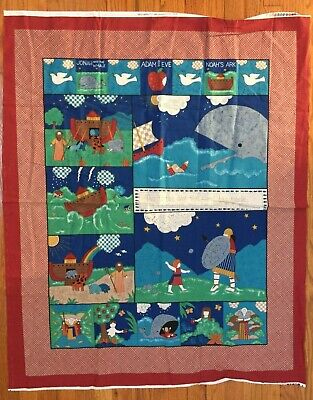 Fabric Traditions Bible Stories Fabric Panel Noah Jonah Adam Eve David - David And Goliath Craft