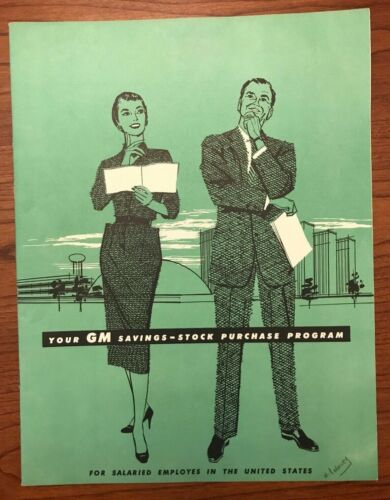 "Vintage 1958 General Motors Employee Stock Program Booklet 8"" x 6.5"" Illustrated"
