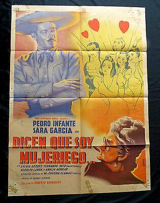 PEDRO INFANTE Dicen Que Soy Mujeriego SARA GARCIA Orig Mexican Movie Poster 1947