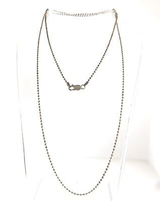 """Sterling Silver Beaded Key Chain Style Necklace Italy 2mm 30"""" 7.38g."""