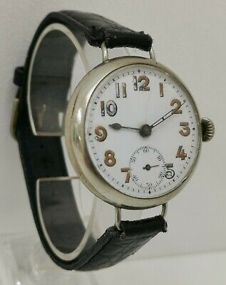 Vtg 1915 WW1 Era Huge 40mm Nickel Cased Swiss Made Officers Trench Watch Ipswich