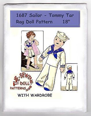 Boy Rag Doll (1687 Sailor Tommy Tar Boy Rag Doll pattern vintage)