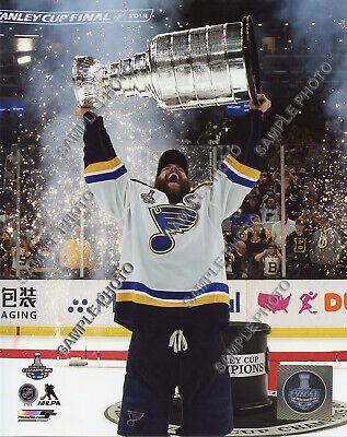 Alex Pietrangelo Hoists 2019 St. Louis Blues Stanley Cup Trophy 8x10 Photo