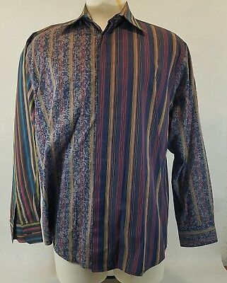 Acorn by Bob Goldfeder  Hidden Button Multi Color Stripe/Paisley LS Shirt XL