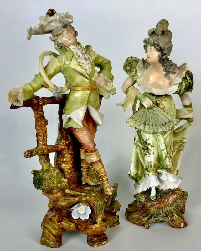 Antique Art Nouveau Porcelain Figurines (2) Man & Woman- Continental Europe