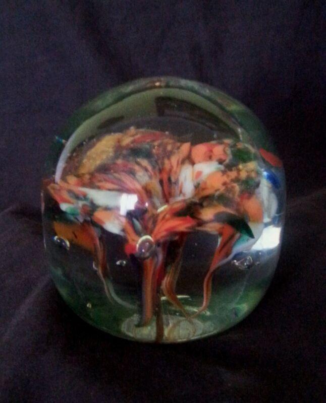 Hand blown glass paperweight 3 inch