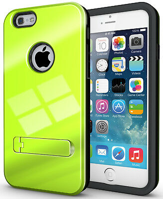(LIME GREEN SLIM TOUGH SHIELD GLOSSY ARMOR HYBRID CASE COVER SKIN FOR iPHONE 6)