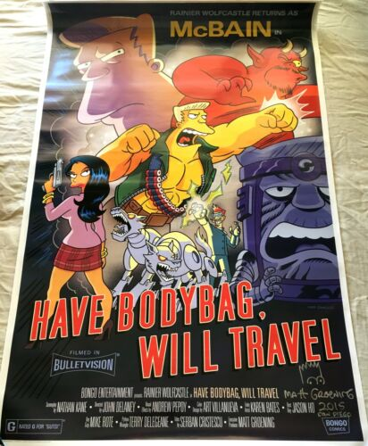 Matt Groening signed doodled Simpsons 2015 Comic-Con SDCC McBain 27x40 in poster