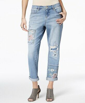 Style & Co Women's Blue Embroidered Boyfriend Jeans Mid Rise Pant $64 -