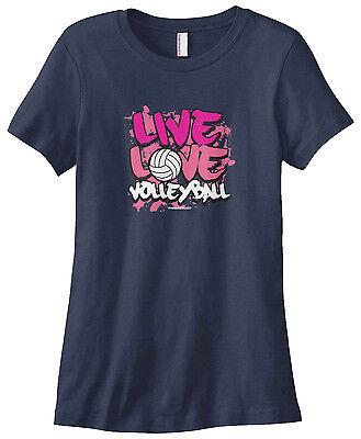 Threadrock Women's Live Love Volleyball T-shirt Coach Team Volley Womens Team Love T-shirt
