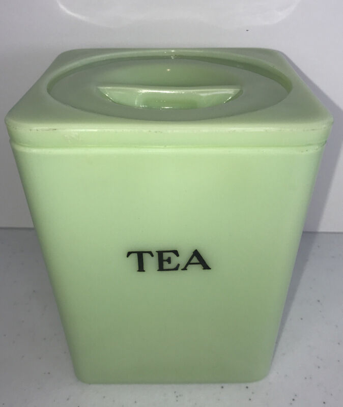 RARE Vintage Fire King Jadeite / Jadite Tea Canister with Lid READ