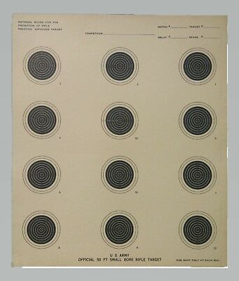Genuine Issue US Army Small Bore 50 Foot Rifle Range Practice Target 50 -