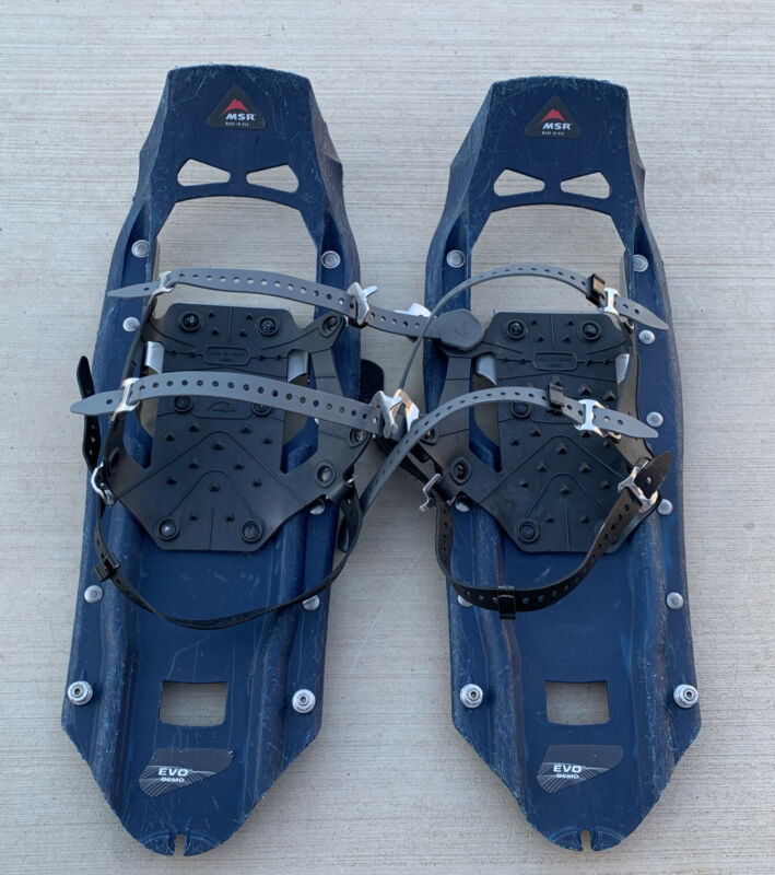 """MSR Mountain Safety Research Evo Trail Snowshoes Blue 22""""Made In USA PreOwned."""