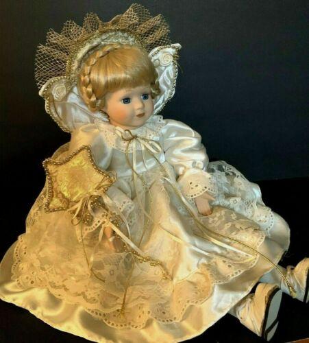 ANGEL PORCELAIN DOLL, BLONDE HAIR & BLUE EYES Sits on Fireplace Hearths or Shelf