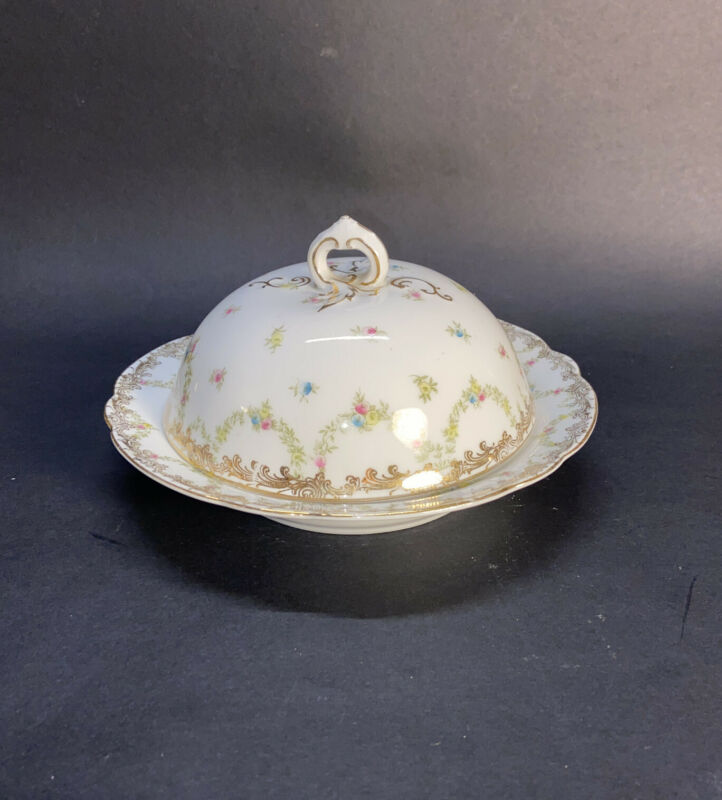 "Imperial Crown China Austria 7"" Covered Butter Dish With Flowers And Gold Gilt"