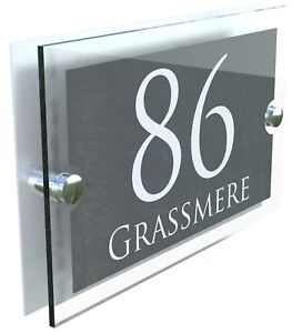 5be225e4590 House Number Plaques Glass Effect Acrylic Signs Door Plates Name Wall  Display