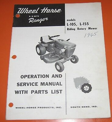 WHEEL HORSE MODEL L-105 L-155  TRACTOR OPERATION & SERVICE MANUAL PARTS LIST 65
