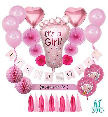 Complete Premium Baby Shower Decorations for Girls / 31 PCS. Set Decor / Pink  (Baby Shower Decor For Girls)