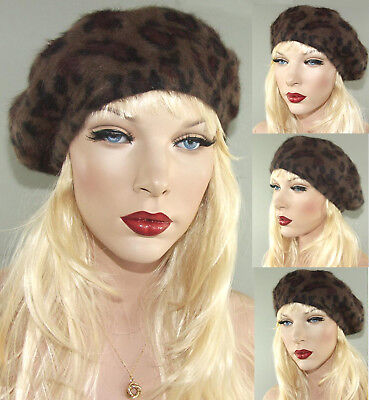 �tze Französische Mütze Hut Wolle Angora Beret Barette Leopard (Baskenmütze Französische Mütze)